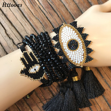 Rttooas Fashion Handmade MIYUKI Beads Bracelet Set Women Girls Evil Eye Lucky Crystal Hamsa Fatima Friendship