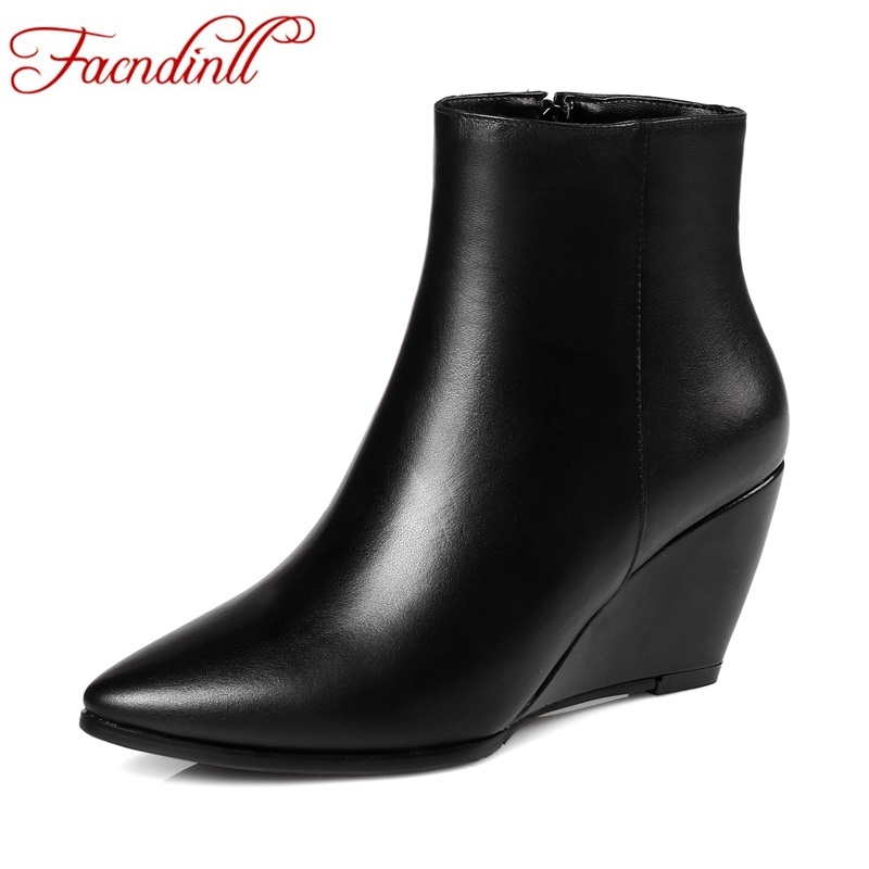 FACNDINLL high quality genuine leather women ankle boots wedges high heels black zipper autumn winter shoes woman riding boots facndinll genuine leather sandals for