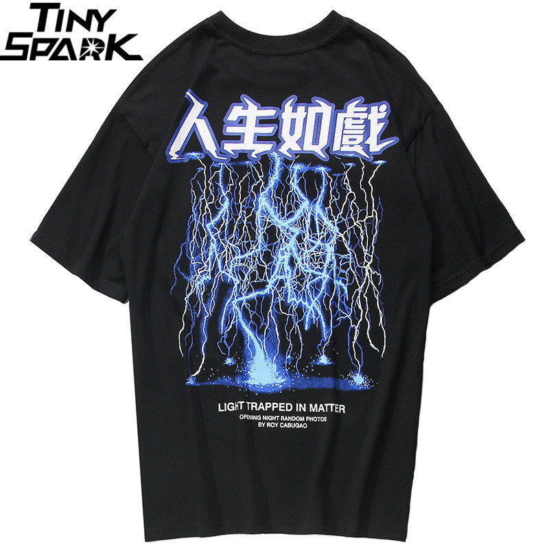 2019 Men Hip Hop   T     Shirt   Lightning Print   T  -  Shirt   Streetwear Chinese Letter Tshirt Oversized Harajuku Summer Tops Tees Cotton New