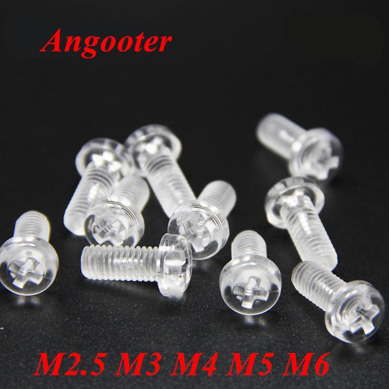 10-50Pcs Plastic Screws M2.5//M3//M4//M5//M6 Acrylic Countersunk Plastic Screw