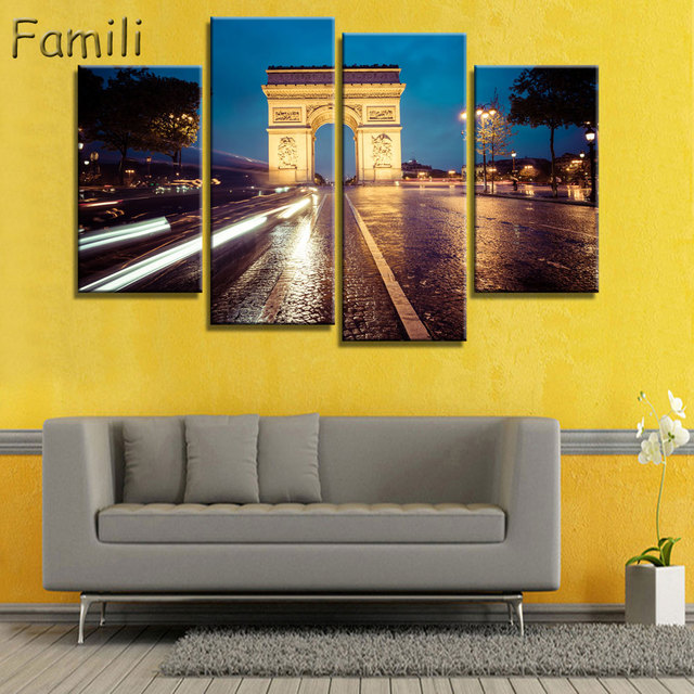 4 panel canvas art paris arc de triomphe wall painting canvas europe