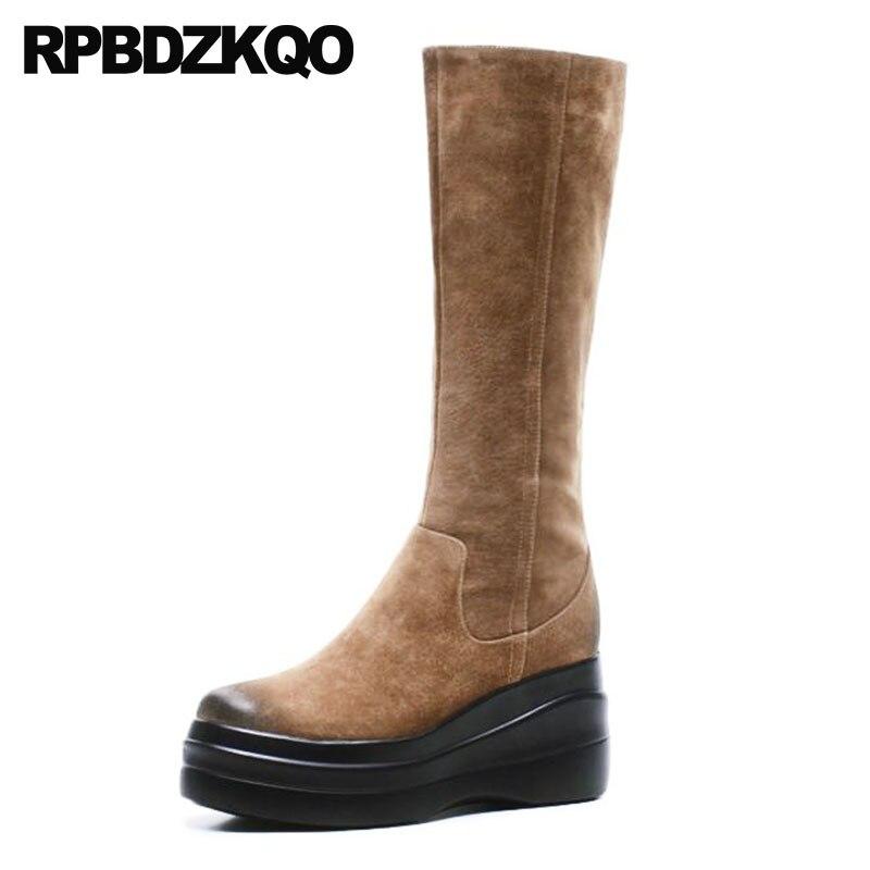 Cuña Casual Redondo Las Pie Black Mujeres Rodilla Suede Plataforma Muffin  Suede Marca Lujo Zapatos De Nuevo Cuero ... 2df498c99c73