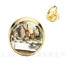 Alice in Wonderland Rings Handmade Glass Cabochon Silver/Golder Plated 2 Color Adjustable Rings Gift For Friends(China)