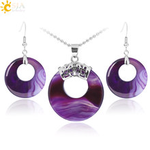 CSJA Jewellery Sets for Women Natural Hollow Round Gem Stone Onyx Unakite Purple Crystal Opal Earrings Necklaces Healing E568(China)