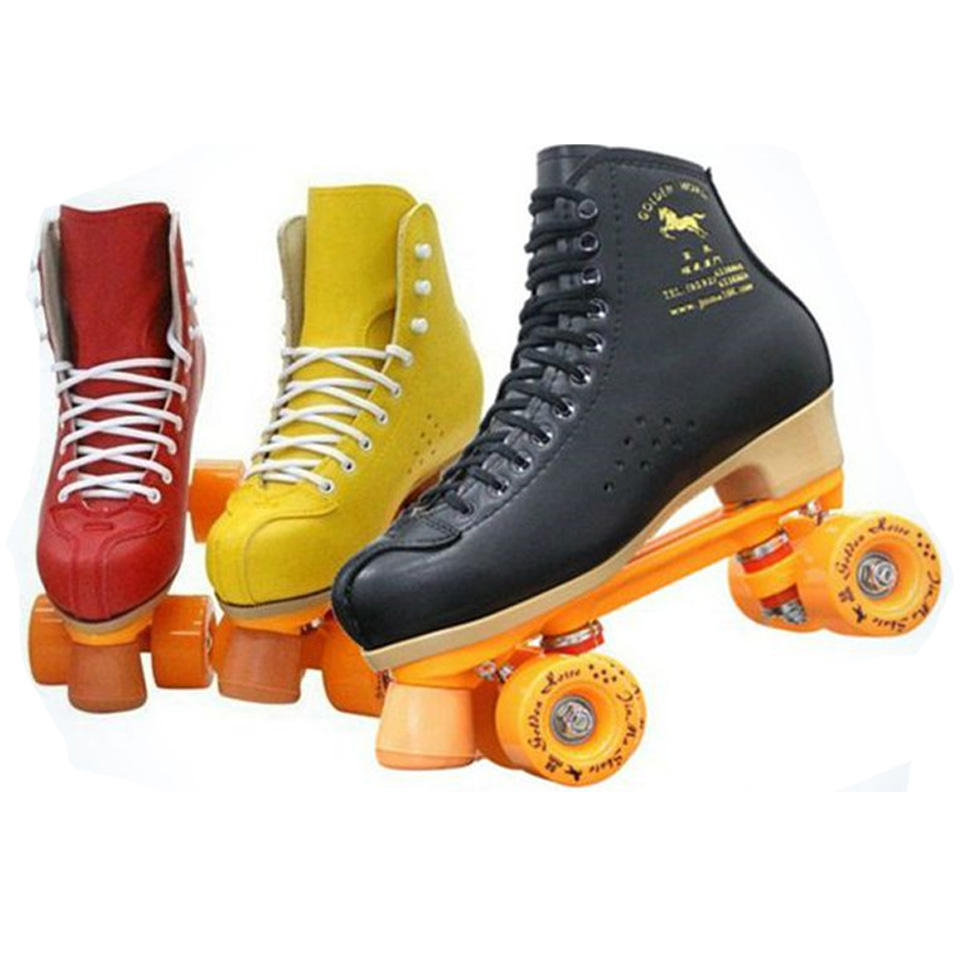 Professional Parenting Two Line Roller Skates Shoes Double Row Skating 4 PU Wheels High Grade PVC Leather Children Adult IB49Skate Shoes   -