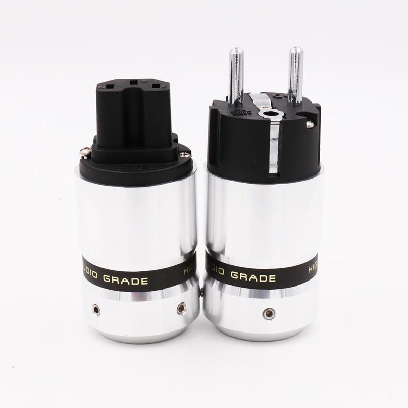One pair New OEM Rhodium Plated EUR Schuko Hifi Electrical Plug IEC Connector Power plug jack adapter