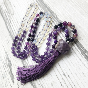 Image 3 - Mala Yoga Jewelry For Women Raw Amethysts Pendant With Purple Tassel Necklace Hand Knotted Rough Stone Necklace For Women Femme
