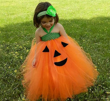 Children Halloween Theme Dresses  Funny Pumpkin Handmade Dresses Girls Puff TUTU dress