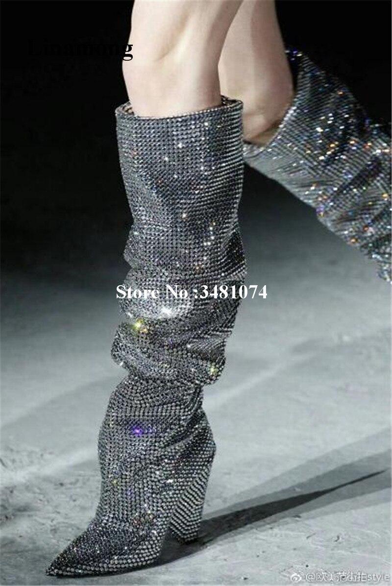 Для женщин Демисезонный сапоги до колена острым Bling кристалла острый носок и Спайк Каблучки со стразами сапоги, Украшенные стразами