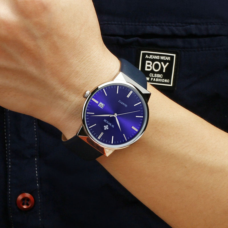 WWOOR Men's Watch Brand Luxury Waterproof Analog Quartz Clock Male Leather Belt Casual Sports Watches Men Blue relogio masculino