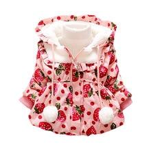 Fashion 1pc Retail Baby Girls Cute Winter Coat Children Outerwear Kids Cotton Thick Warm Hoodies Floral Jacket Clothing Q2011