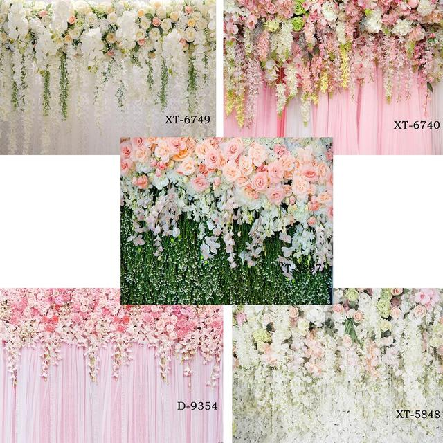 Bridal Shower Wedding Floral Wall Backdrop Flowers Curtain Dessert Table Decoration Blush Background for Photography