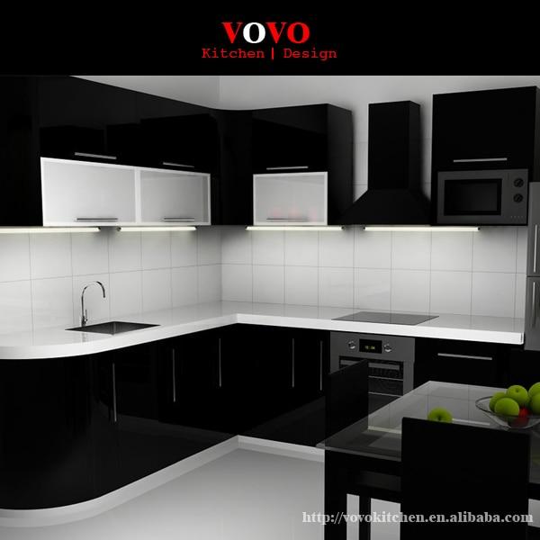 Gran venta de gabinetes de cocina lacados de alto brillo color negro ...