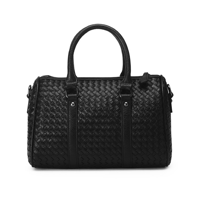 Occident Style Boston Bag Fashion Knitting font b Handbag b font Women Designer Woven Pattern Hand