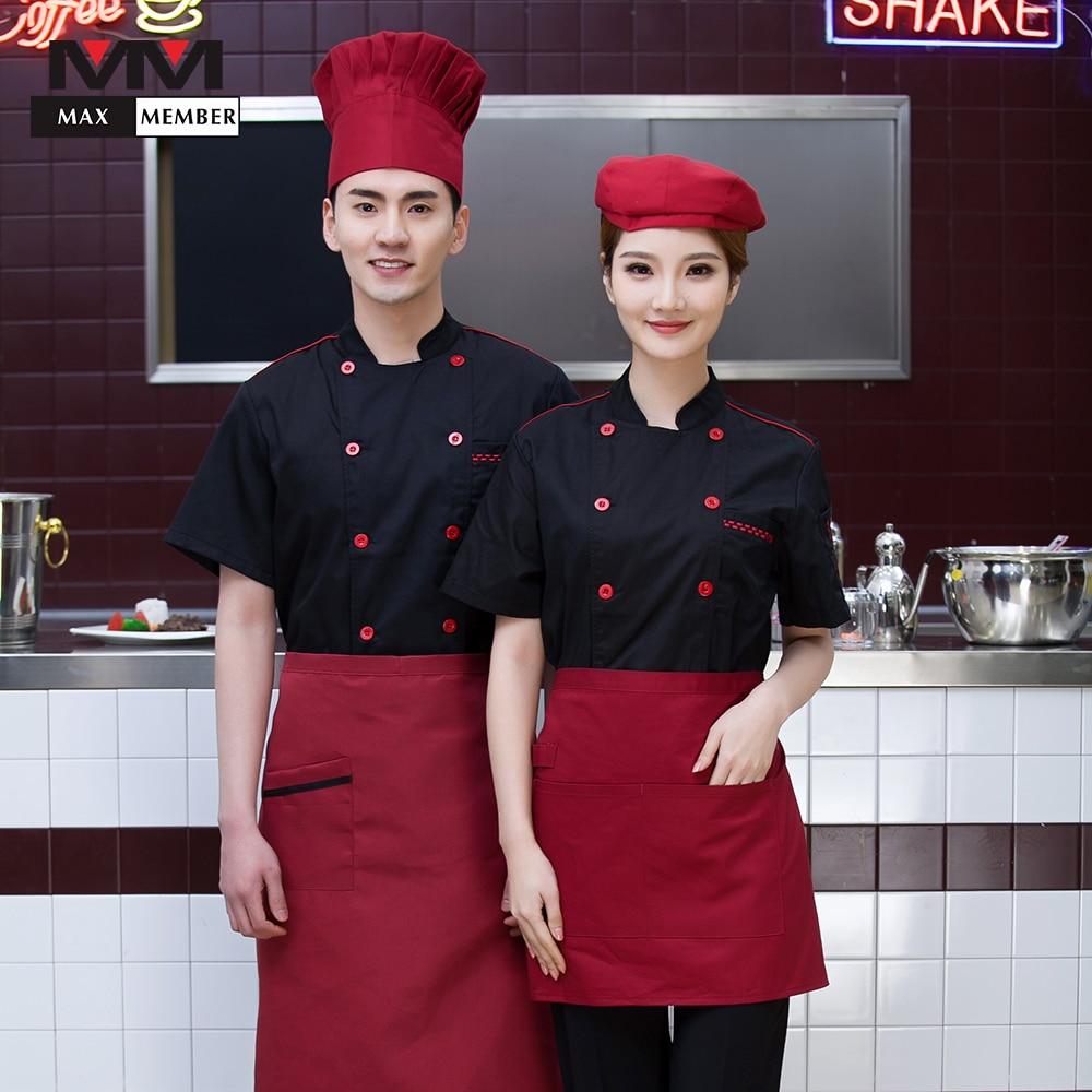 Solid Summer Breathable Chef Cooking Tops Short Sleeve Cozinha Canteen Cuisine Restaurant Kitchen Work Uniforms Unisex Jackets
