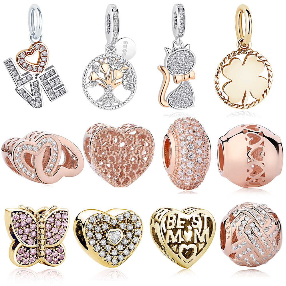 c986bd084 Original 925 Sterling Silver Charms Beads Fit Pandora Bracelets Women DIY Rose  Gold Love Heart Tree
