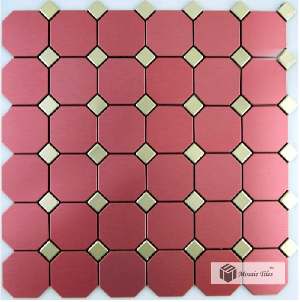11SF ADHESIVE metal tile red kitchen backsplash ideas designs tiles ...
