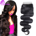 Top 8A Unprocessed Indian Virgin Hair Body Wave Lace Closure Bleached Knots Closure Raw Indian Human Hair Silk Base Closure