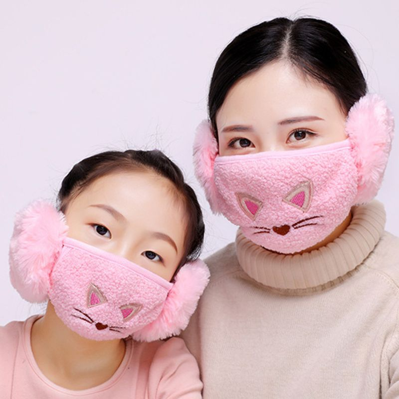Winter Warm Cute Cartoon Cat Embroidered Earloop Mouth Mask Cotton Plush Windproof Earmuff Anti-Dust Half Face Cover