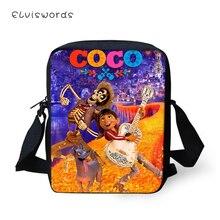 ELVISWORDS Women Messenger Bags COCO Guitar Skull Pattern Shoulder Kawaii Design Girls Flaps Handbags Kids Mini Mochila