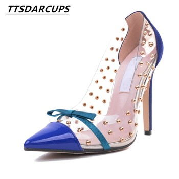 2018 new crystal heel  Super heel shoes  sexy  Nightclub  Rivet shoes  Fine with a pointed toe  Large code transparent pump
