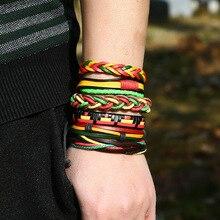 Rasta Style Colorful Leather Bracelets Set