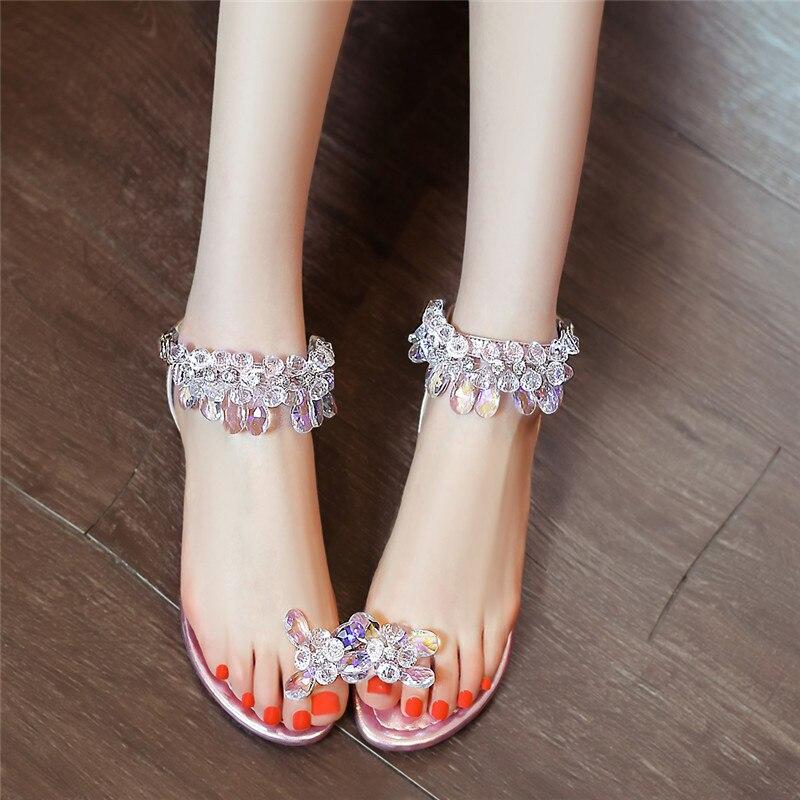 Sandalias rosado Flops Tamaño Cristal Zapatos Mujeres Pisos Diamantes Imitación 39 Las Strayppy Anmairon Azul Mujer Flip Verano De wxTp4PIq