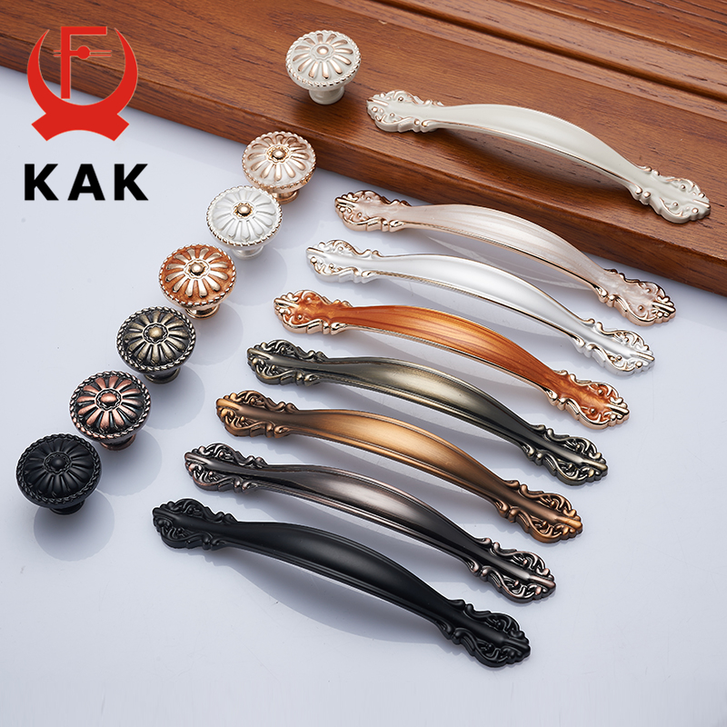 KAK European Zinc Alloy Cabinet Handles Wadrobe Door Pulls Drawer Knobs Kitchen Cupboard Handles Furniture Handle Hardware
