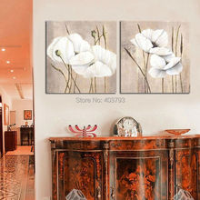 2panels abstract white Poppy flower  oil painting of modern on canvas Free shipping
