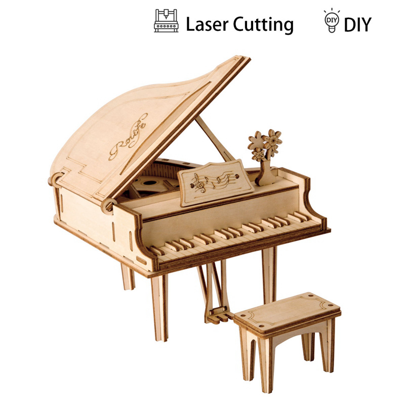 Robotime DIY 3D Laser Cutting Wooden Grand Paino Puzzle Game Gift for Children Kids Model Building Kits Popular Toy TG402 robotime 3d puzzle dinosaur style wooden educational toy for kids