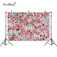 NeoBack Vinyl Pink Champaigne Floral Wall Wedding Photo backgrounds Children Kids Photo Backdrops Party Welcome Board P4329