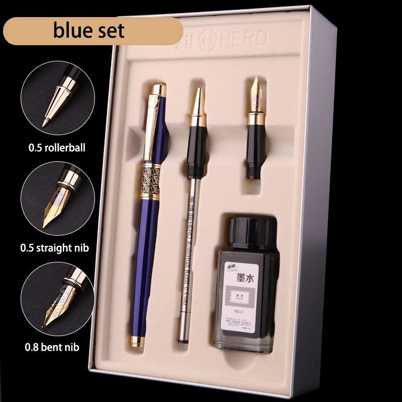 Luxury Hero Blue Black 0.5mm Rollerball Fountain Pen Ink Set 0.8mm Bent Nib Art Calligraphy Pens Metal Business Gift Stationery most popular duke confucius bent nib art fountain pen iraurita 1 2mm calligraphy pen high end business gift pens with a pen case