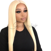 Guanyuhair #613 Blonde Lace Front Human Hair Wigs with Baby Hair Pre Plucked Hairline Indian Remy Hair Glueless Wigs