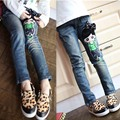 Free shipping, New Year,  spring female child jeans child trousers doll pattern girls jeans
