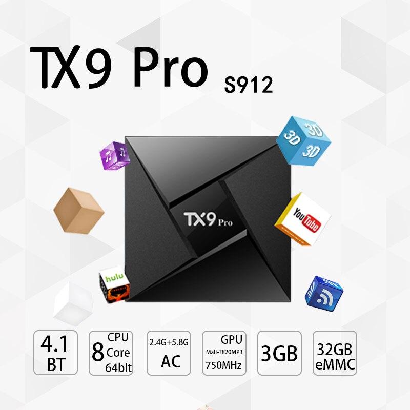 Tanix tvbox TX9 Pro Smart TV Box Amlogic S912 Octa core Set-top Box Android 7.1 3GB 32GB BT 4.1 1000M LAN 4K HDMI Media PK MX10 tanix tx9 pro android 7 1 tv box amlogic s912 octa core cpu set top tv box 3gb 32g bt4 1 2 4g 5 8g wifi 1000m lan smart tv box