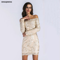 In Stock Sexy Boat Neck Embroidery Long Sleeve Cocktail Dress Lace Elegant Short Formal Dress Cheap Simple Mini Women Gown