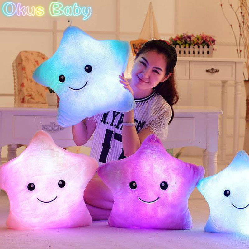 Luminous Pillow Star Cushion Colorful Glowing Pillow Plush Doll Led Light Toys Gift For Girl Kids Birthday Bedroom Decoration