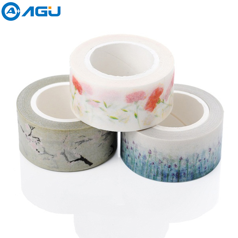 AAGU 1PC 20mm*10m Wide Owl Paper Washi Tape Single Sided Decorative Tape Fresh Floral Beautifl Girl Masking Tape aagu new arrival 1pc 15mm 10m musical note fresh floral washi tape strawberry sticky adhesive tape various patterns masking tape