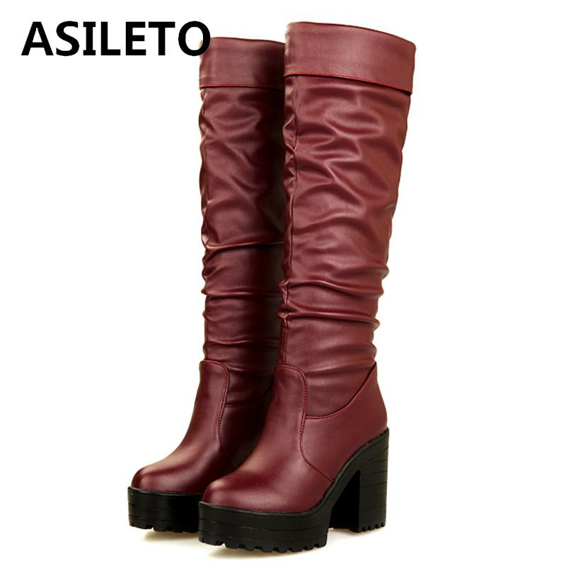 ASILETO Autumn Winter Shoes Platform Thigh High Boots Pu Leather Boots Ladies Thick High Heels Footwear Botas Mujer Booties A933