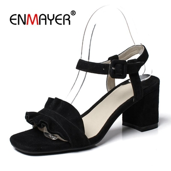 ENMAYER   Kid Suede  Basic  Casual  Womans Shoes 3 Colors Women Summer High Heel Sandals Size 34-39 LY1398