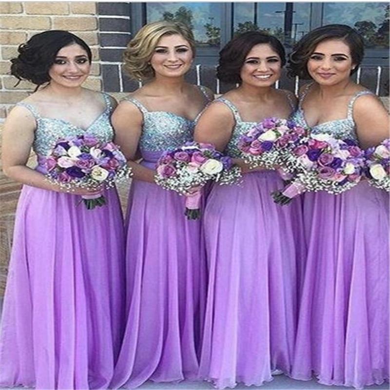 2017 lila de dama de honor larga vestidos de correas gasa palabra de ...
