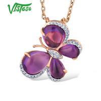 VISTOSO 14K 585 Rose Gold Butterfly Pendant For Women limpid Amethyst Shiny Diamond Chic Lovely Pendant Anniversary Fine Jewelry
