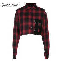Sweetown Women Fashion Blouses Loose Red Black Plaid Shirt For Women Blusa Feminina Spring Summer Appliques