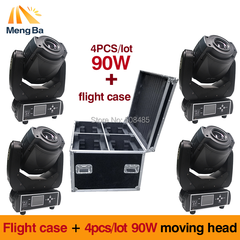 Flight case +4pcs/lot  90W Gobo LED Moving Head Light 3 Face Prism DMX512 LCD Display DJ spot light for Stage Disco club Party
