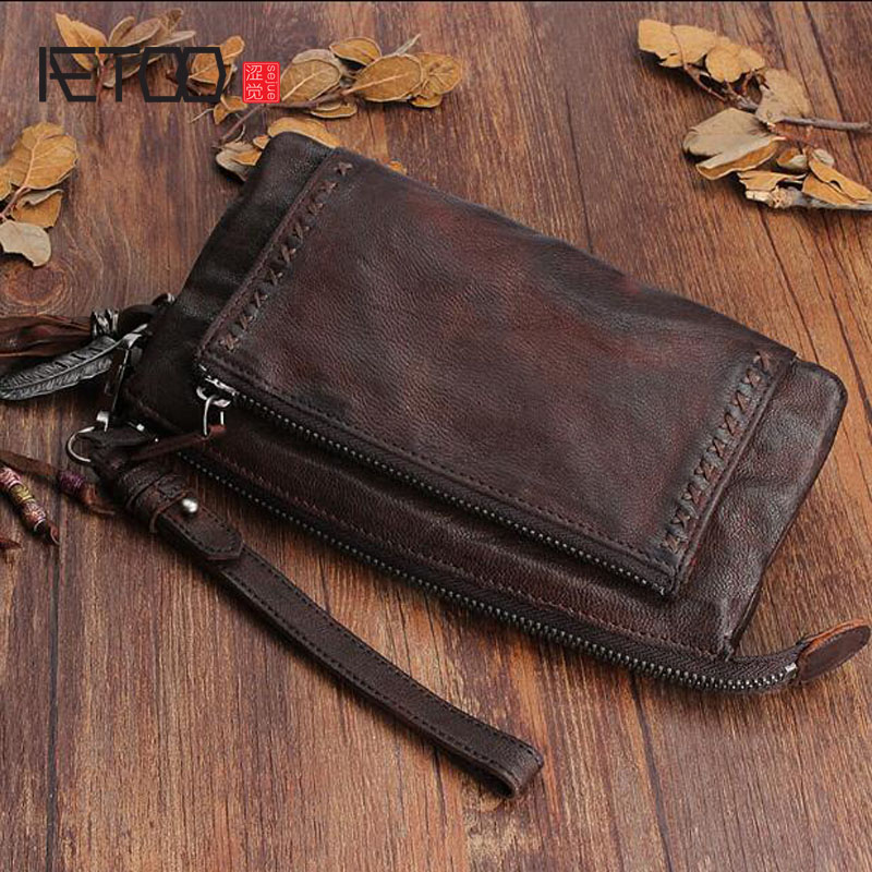 AETOO Original design handmade leather long ladies leather wallet first layer of sheepskin vintage large volume folds Vintage