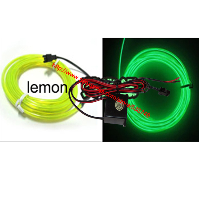 5M Lemon Kits Flexible Led Neon Light Glow EL Wire Rope Tube Cable+ ...