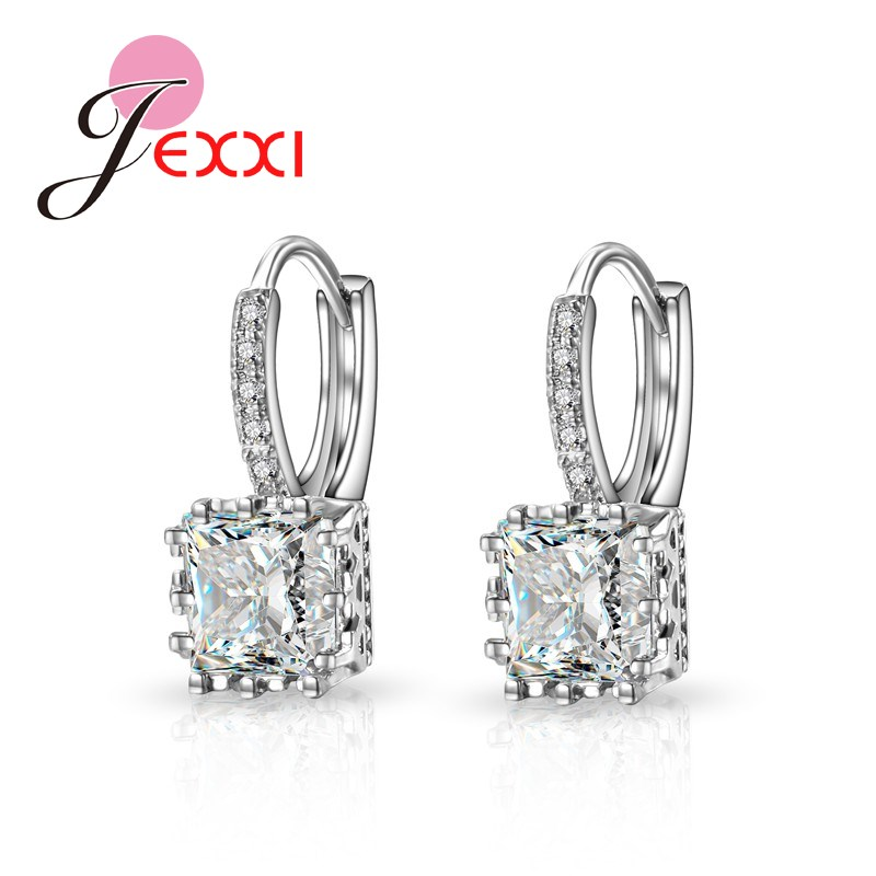 Jemmin Promotion Price Fashion Earrings Silver Jewelry For Women Girls Wholesale Earring Shiny Square Cut Wholesale