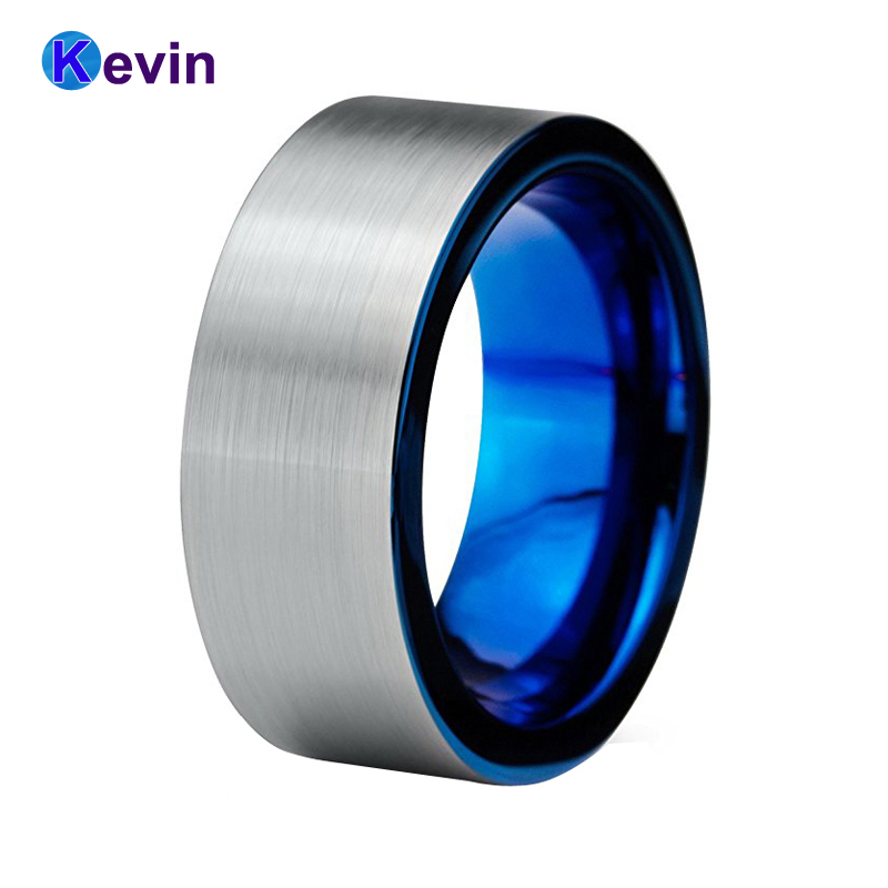 Flat Ring Mens Wedding Band Blue Tungsten Ring Band 8MM Comfort Fit