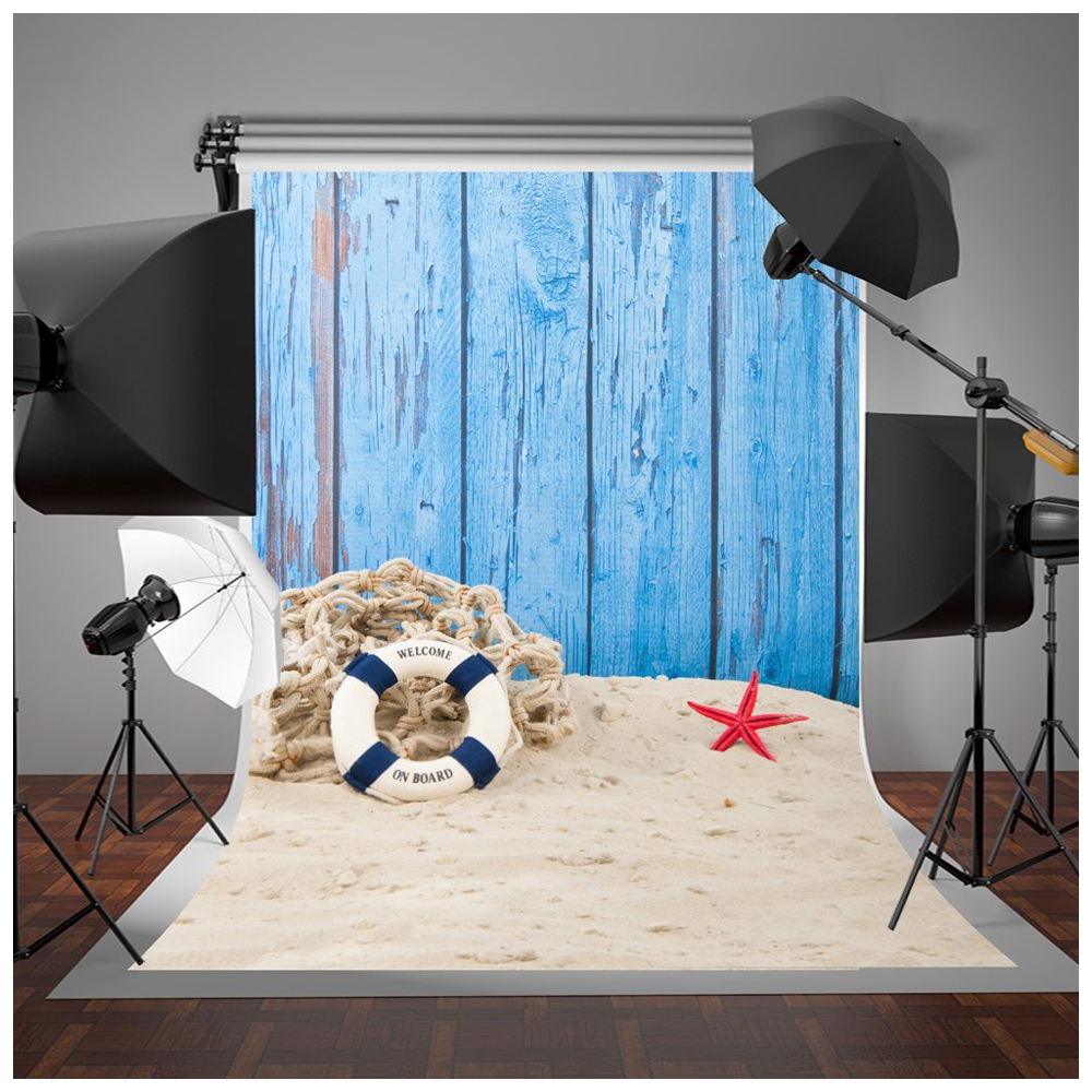 Blue Beach Fence Photography Backdrops 5x7ft Vinyl Summer Sea Background Photo