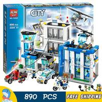 890pcs City Police Station New Construction Helicopter 10424 Figure Building Blocks Children Toys Kit Compatible With LegoING